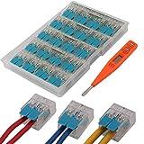 WPERSUVV 20 PCS Terminales Electricos Rapidos, Terminales Cables/Alambre Compacto Conector 222-412 + Comprobador de Voltaje