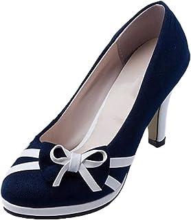 4de40f091f25 Bevalsa Femme Sexy Suédé Escarpins Bride Cheville Talon Haut Plateforme  Epais Bowknot Bout Rond Chaussures