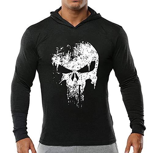 Unisex Punisher Sencilla Camiseta Deportiva de Algodón Casual Sport Pullover Hombres Suéter con Capucha de Manga Larga para Hombres y Mujeres