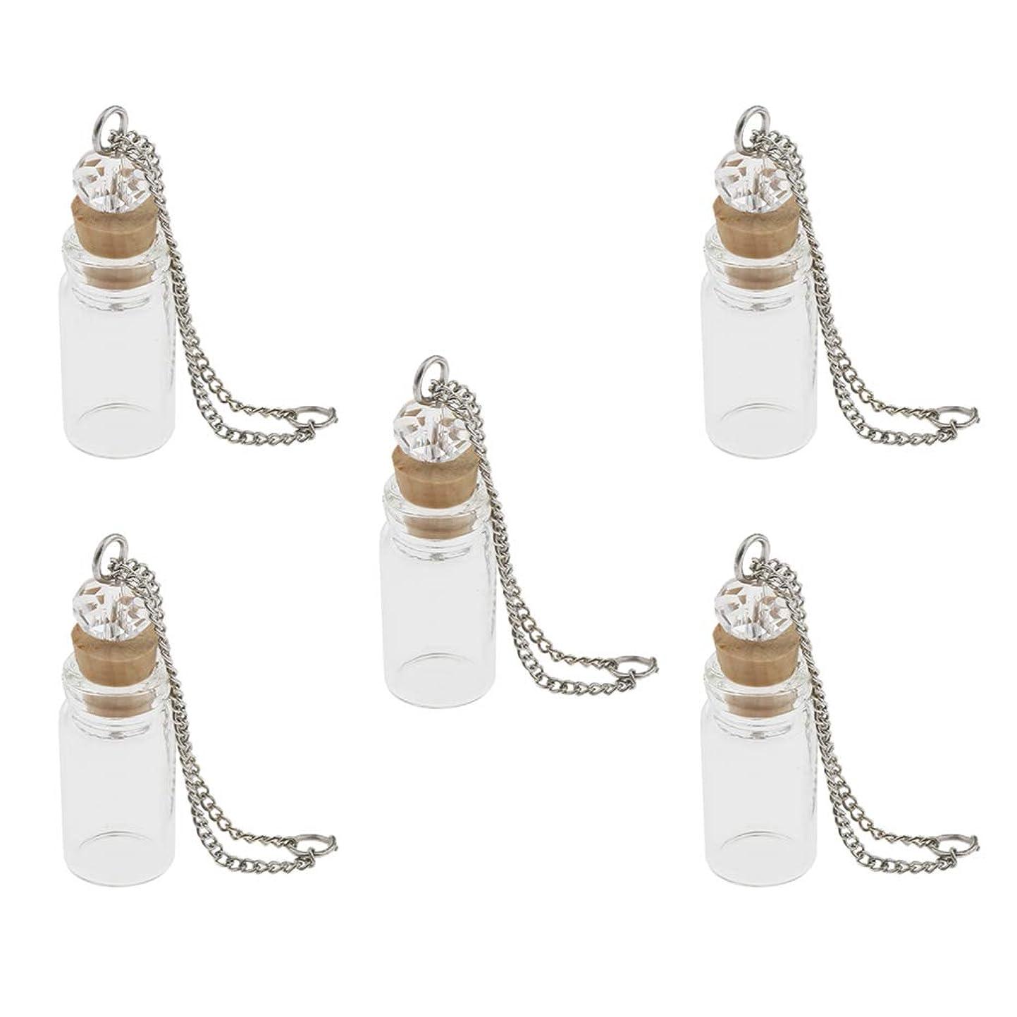 デイジー兄弟愛誠実さBaoblaze 5個 ガラス製 ミニボトル 香水瓶 オイル バイアル ペンダント DIY 2タイプ選べ - 1mlクリア