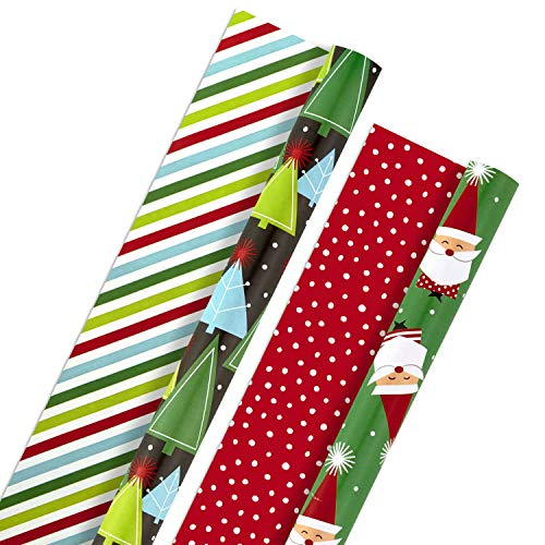 Hallmark Christmas Reversible Wrapping Paper Bundle, Trees and Santa (Pack of 2, 60 sq. ft. ttl)