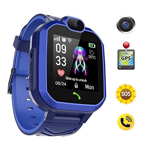 Discoball - Reloj Inteligente GPS para niños, IP67 Impermeable LBS y GPS Tracker Smartwatch para niños de 3 a 12 años, Regalo con cámara de Emergencia SOS de Clase de Juego de matemáticas