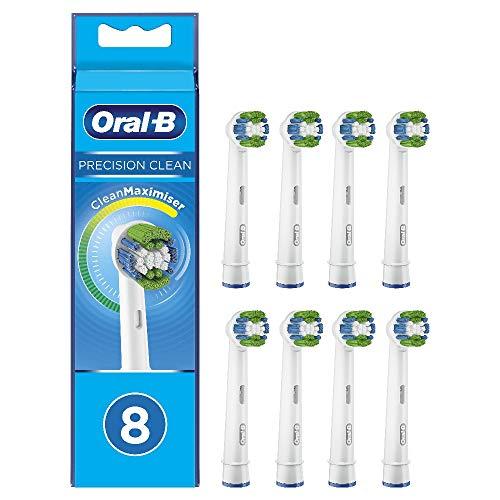 Oral-B Precision Clean Testine di Ricambio per Spazzolino Elettrico con Tecnologia CleanMaximiser, Confezione da 8 Pezzi, Pacco Adatto alla Buca delle Lettere