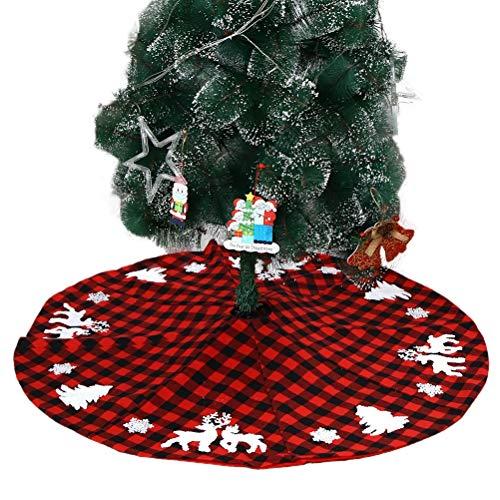 Poapp Falda de árbol de Navidad de 48 Pulgadas, Falda de árbol de Navidad con Copos de Nieve de Alce Decoración de árbol de Navidad Impresa Manta de árbol de Navidad Redonda para árbol de Navidad