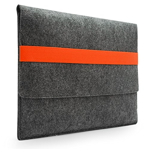 """Sinoguo Basic Gray Felt & Leather Handmade Case Bag Holder Sleeve Cover Pouch with Orange Elastic Band for 11"""""""" Macbook Air Display and Most Popular 11~11.6 inches Laptop / Notebook / Ultrabook /Netbook"""