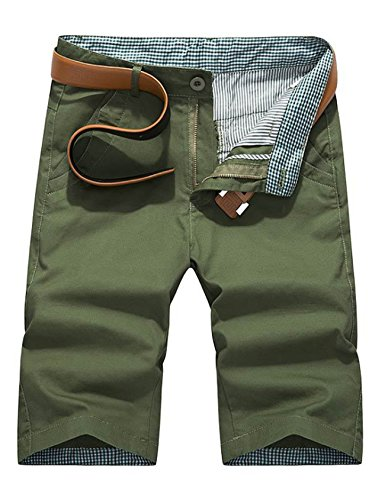 Bestgift Herren Bermudas Shorts Vintag Kariert Kurze Hose Knielang Sommer Kurze Hose Pants ohne Gürtel Armee Grün 29(55-60KG)