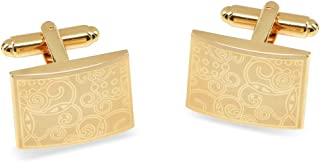 Mens Cufflinks 14k Gold Plated Rectangle Shaped Laser Engraved Elegant Design