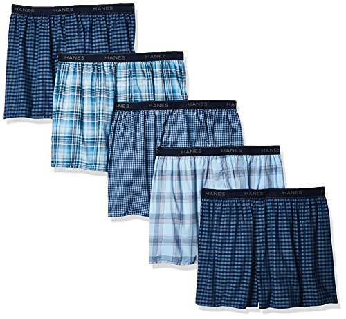 Hanes Ultimate Men's Tagless Boxer with Exposed Waistband – Multiple Packs Available, Blue Assorted 5-Pack, Medium