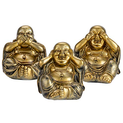 YINASI Set of 3 Feng Shui Loving Buddha Statue, Hear See Speak No Evil Happy Face Laughing Buddha Figurine Home Decor Statue Birthday Housewarming Gifts