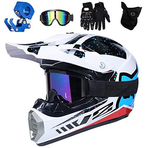 QYTK® Full Face MTB Helm, Motocross Cross Helm für Enduro Downhill MX Mountainbike ATV Junge Motorradhelm Zubehör mit Brille Maske Handschuhe Helmhaken,Helle Weiße Blau,M(54~55CM)