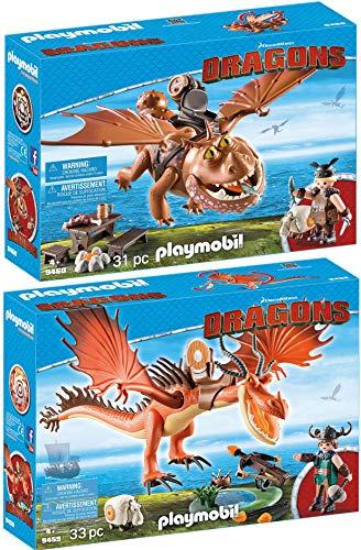 PLAYMOBIL Dragons 2er Set 9459 9460 Rotzbakke und Hakenzahn + Fischbein und Fleischklops