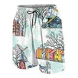 KOiomho Hombres Personalizado Trajes de Baño,Amsterdam Arquitectura Molinos De Viento Acuarela,Casual Ropa de Playa Pantalones Cortos
