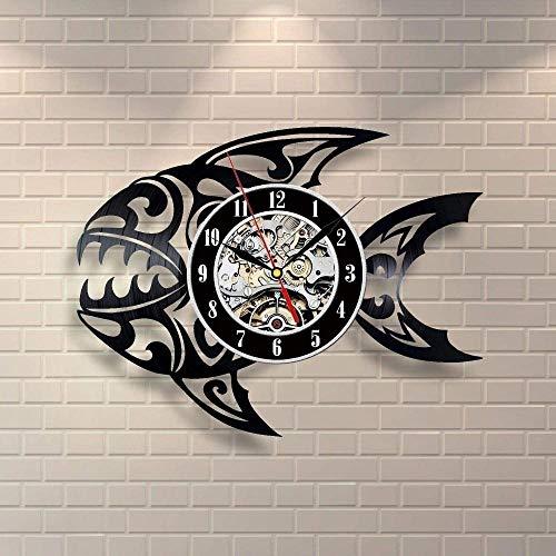 KDBWYC Reloj de Pared con Disco de Vinilo de Peces Tropicales, Idea de Regalo para niños, Adultos, Hombres y Mujeres, diseño de Arte único