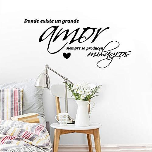 JXMN Vinilos Decorativos con español Donde Hay Gran Amor Siempre Milagros Revestimiento de Vinilo para Pared decoración del hogar 102x46cm