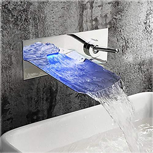 Faus Koco Salida De Agua De Boca Grande con Grifo Oculto De Pared De Cascada LED Manija Giratoria De 360 Grados