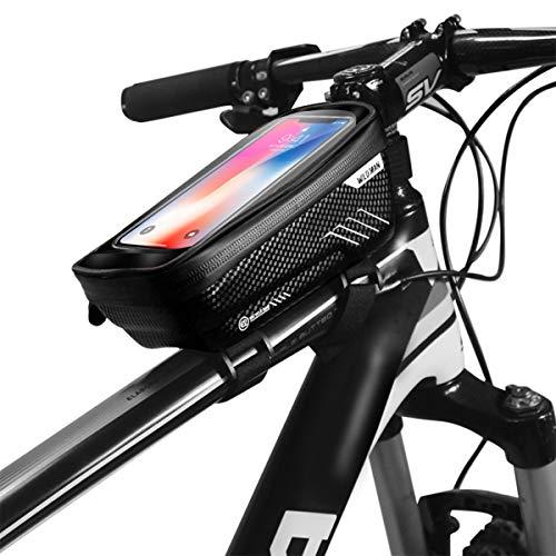 GAOJR Fahrrad-Rahmentasche mit Handyhalter, Fahrrad-Oberrohrtasche, wasserdichte Fahrrad-Handyhalterung mit Touchscreen-Fenster, für Smartphones bis 6,5 Zoll-Black