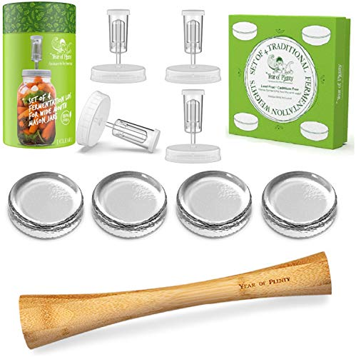 Year of Plenty Complete Fermenting Kit - Includes 4 Clear Fermentation Lids, 4 Fermentation Weights, One 12-inch Bamboo Cabbage Tamper (Clear)