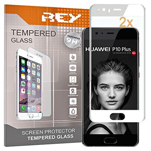 REY 2X Protector de Pantalla 3D para Huawei P10 Plus, Blanco, Protección Completa, 3D / 4D / 5D