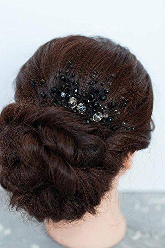 FXmimior Brautschmuck/ Haarschmuck für Hochzeit, Haarkamm, Gothic-Design, Brautjungfer, Abschlussball, Perlen, Geschenk, Schwarz
