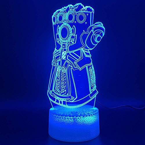 Lampada a luce notturna a LED 3D Marvel Thanos Guanto Design Decorazione della casa Artigianato Ragazzi Camera da letto Luce notturna Compleanno per bambini Regalo unico