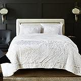 Chanasya Shaggy Longfur Faux Fur Throw Blanket - Fuzzy Lightweight Plush Sherpa Fleece Microfiber Blanket - for Couch Bed Chair Photo Props - Queen - White