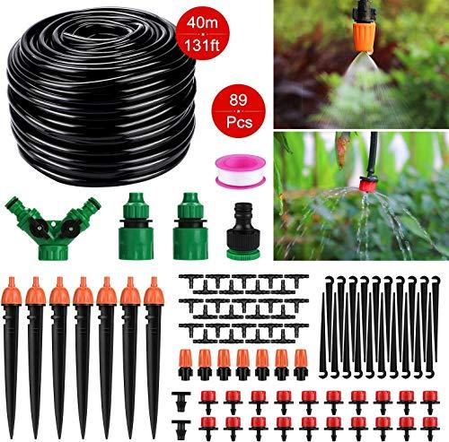 Tencoz Sistema de riego de jardín, 30m Kit de riego por Goteo Riego Manguera de 1/4' automático Rociadores automáticos Kit de riego de jardín para Jardines, Macizo de Flores, Plantas de Patio-149pcs