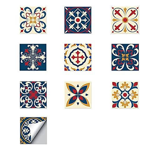 ZSFBIAO Azulejos Adhesivos Adhesivo de Vinilo Decorativo Hojas de Pegatinas Azulejos para baño y Cocina Adhesivos de Cemento pelar y Pegar (Size:20CM*20CM*10PCS,Color:1 Set)