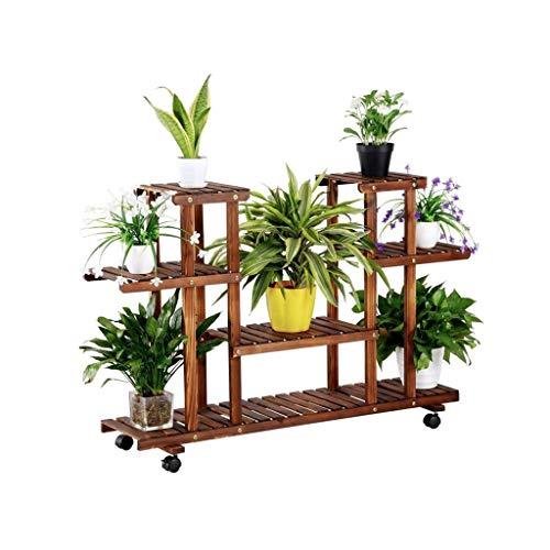 SZXJJ 4-Tier Esquina de Madera de Flores/Planta Soporte de estanterías Estante Estante de exhibición al Aire Libre Patio jardín Patio Balcón Multifuncional de Almacenamiento en Rack estantería Brown