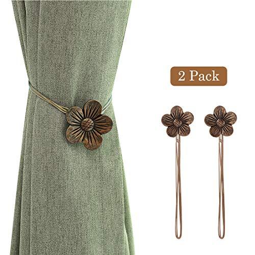 Lewondr Vintage Magnetischer Vorhang Raffhalter, 1 Paar Harz Blume Vorhangschnalle mit starkem dauerhaftem Magneten für Dekoration Zuhause Cafe Büro - Kaffee