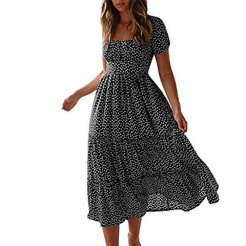 Janly Clearance Sale Vestido sexy para mujer, de moda, sexy, con estampado de margaritas, manga abullonada, cuello cuadrado, para verano (negro - L)