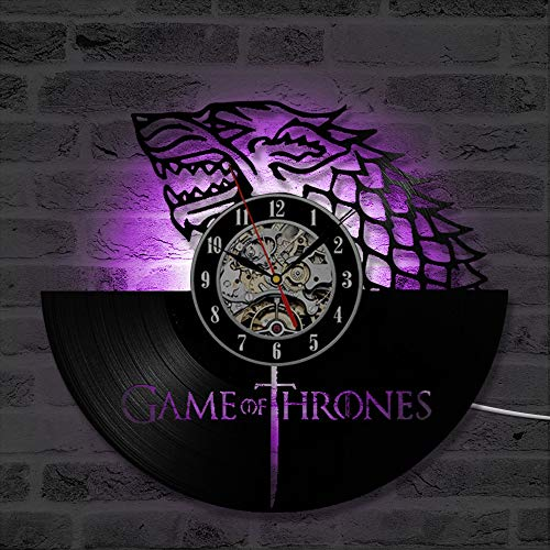 LRRD 3D Game of Thrones Rekord Wanduhr Winter kommt Vinyl Record Hanging Clock Geburtstagsgeschenk Home Decor