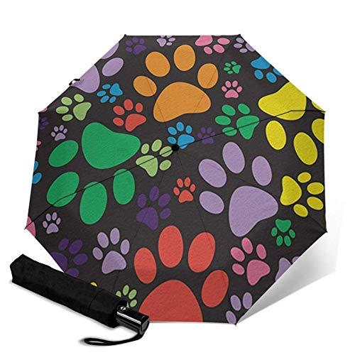 WALL-8-CC - Ombrello da pioggia a forma di zampe, colorato per cuccioli di cane, gattino, gatto, ombrello automatico a tre pieghe