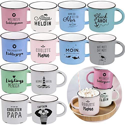 LS-LebenStil XL Kaffee-Becher 470ml Glück AHOI Anker Jumbo-Becher Kaffee-Tasse Henkel-Tasse