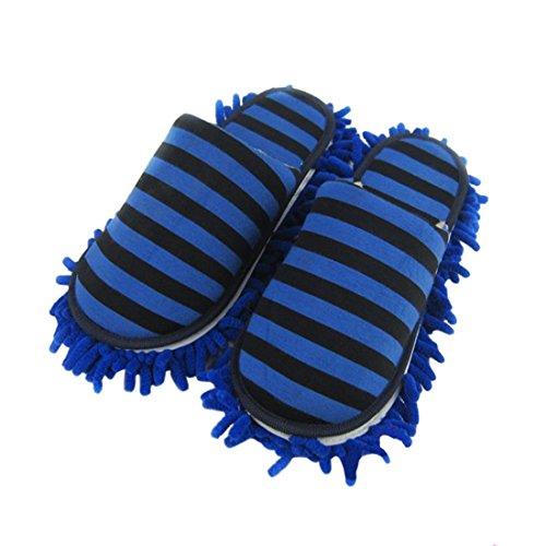 YUENA CARE 1 Paar Putz-Hausschuhe Putzschuhe Mop Schuhe mit reinigender Bodenreinigung Slippers Abnehmbar Mikrofaser-Sohle Blau