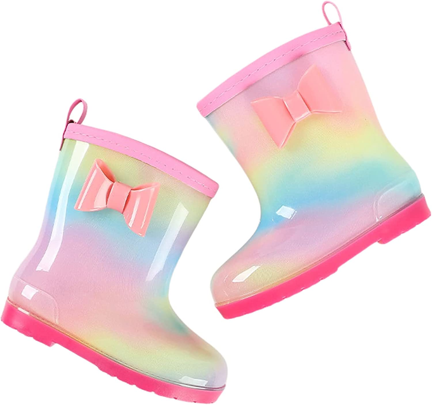 Kids Rain Boots Toddler Girls Slip Rubber security Directly managed store Non Wate Bowknot