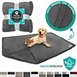PetAmi WATERPROOF Dog Blanket for Bed Couch Sofa | Waterproof Dog Bed Cover for Large Dogs, Puppies | Grey Sherpa Fleece Pet Blanket Furniture Protector | Reversible Microfiber | 60' x 80' (Gray/Gray)