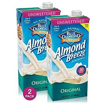 Blue Diamond Almond Breeze - Unsweetened Original - 32 oz  2 Pack