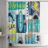 LOSNINA Duschvorhang aus Polyester,Surfbrett Aquarell Sufr Rider Paradise Surfer Shark Dolphin,Duschvorhänge Waschbare wasserdichte Badvorhänge mit 12 Haken 180x180cm Home Hotel Dekoration Vorhang