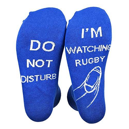 KLOP256 Calcetines Mujer Hombres hion Divertido Cómodo Desgaste Diario Elástico Suave Letra Impreso Mediados de Becerro Regalo No molestar Estoy Viendo Rugby Novedad (Azul)