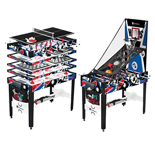 12-in-1 Multi Game Table Set for Adults, Kids, Families - Foosball Tables with 5 Conversion Tops, 4 Board Games, and Multiplayer Sports Games, All-Inclusive - Combination Arcade Games Kit