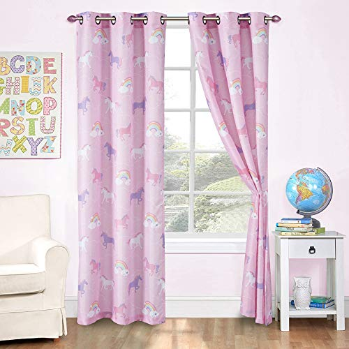 Kids Zone Home Linen 2 Panel Curtain Set with Grommet for Boys Girls Teens Bedroom Multicolor Set (Unicorn Rainbow Pink Purple White)