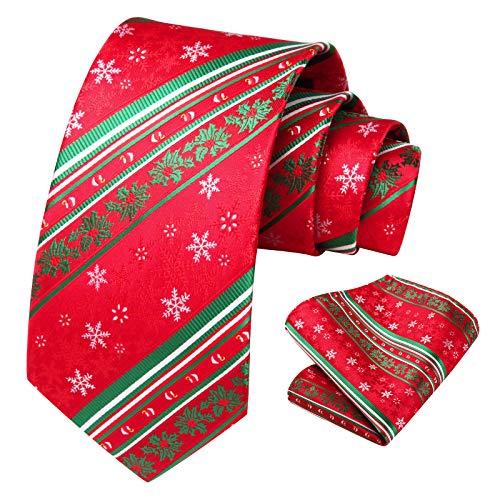 HISDERN Men's Christmas Tie Snowflake Woven Party Necktie & Pocket Square Set