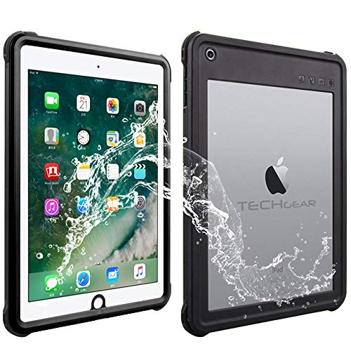 TECHGEAR Waterproof Case for iPad 9.7' 6th Gen 2018 / 5th Gen 2017 [Poseidon Case] Slim Rugged Armour Shockproof Waterproof Case with Built-in Screen Protector + Stand & Neck Strap fit Apple iPad 9.7'