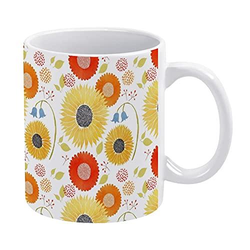 Taza de café de cerámica con girasoles y campanas, taza de té para oficina y hogar, 11 oz, apta para lavavajillas y microondas, 1 unidad
