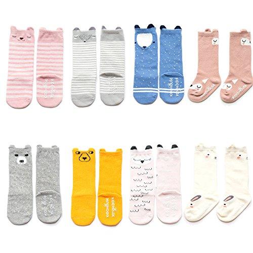 VWU Lot de 6/8 Paires Unisexe Bébés Filles Garçon Infant Antidérapant Genou Haute Stockage Cartoon de Nouveau-Nés Chaussettes en Coton (0-2 Ans, 8 Paquet)