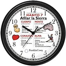 Habit 7 - Sharpen the Saw (Spanish) - Wall Clock from THE 7 HABITS - CLOCK COLLECTION by WatchBuddy Timepieces (Hunter Green Frame)