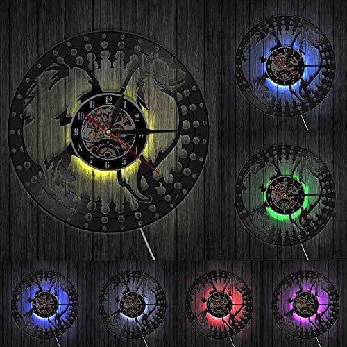 Reloj de pared Spitz japonés Spitz perro raza vinilo disco reloj de pared Japón cachorro perro diseño moderno decoración del hogar perro mascota dueños regalo luces LED