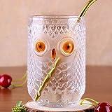 Vasos de cristal de búho para beber, de cristal de pinta, para decoración del hogar, 16 onzas/390 ml, vidrio sin plomo, estilo de mano, regalo para hombre y mujer (bebida fría)