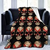 alice-shop Alabama Flag Skull Ultra-Soft Cozy Micro Fleece Blanket, Ideal para...