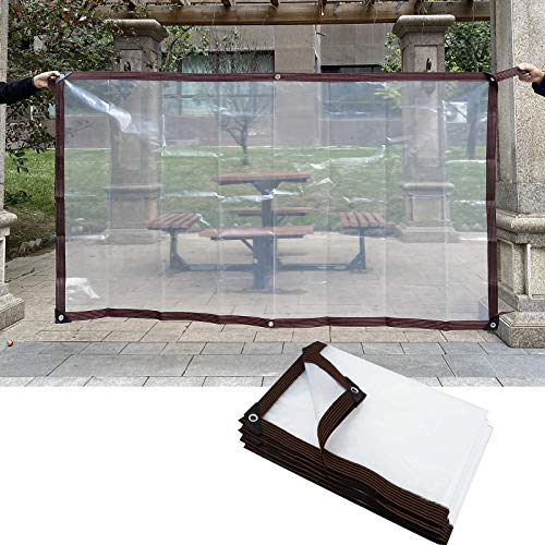 MAHFEI Tarpaulin Waterproof Heavy Duty, With Grommets Clear Tarp Sheet Partition Curtain Reinforced Edges Canopies Tear Resistance For Camping Roof Terrace Screen (Color : Clear, Size : 3x10m)